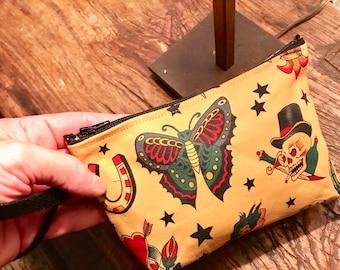 Tattoo cotton print wristlet, Sailor Jerry wrist clutch bag, cosmetic pouch