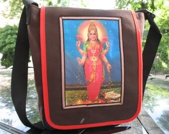 Lakshmi Goddess Canvas Day Bag,  Cross body Messenger Bag, Courier Bag