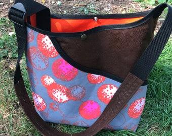 Grey Hot Pink Cotton Print and Faux Leather Suede Market Bag, Crossbody Shoulder Bag, Messenger Bag