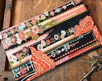 """Black Floral Butterfly Asian Print Clutch Bag,  Cosmetic Pouch, Pencil Case, Make Up Bag, All Purpose 10"""" Pouch"""