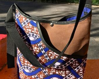 African Print Wax Cloth Crossbody Market Bag, Shoulder Tote, Book Bag