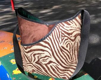 Brown Zebra Print Crossbody Market Bag, Patchwork Messenger Bag
