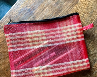 Red Plaid Love Shine Mexican Mesh Pouch, Travel Pouch, Make Up Case, Toiletry Bag