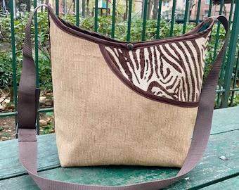 Love Shine Courduroy and Animal Print Market Bag, Patchwork Crossbody Shoulder Tote Bag
