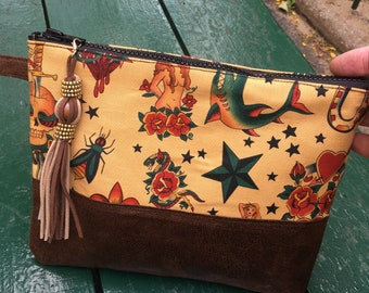 Sailor Jerry Cotton and Faux Leather Clutch Bag, Tattoo Pouch Bag, Cosmetic Bag,
