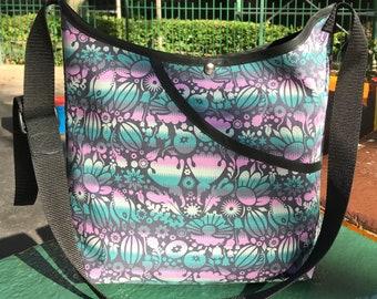 Teal Lilac Floral Cotton Print Pocket Market Bag, Lightweight Vegan Floral Cotton Messenger bag