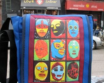 Lucha Libre Mexican Wrestling Mask Blue Canvas Day bag, Messenger Bag, Courier Bag