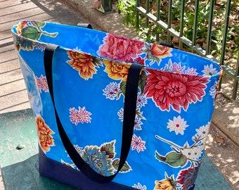 Large Blue Floral Mum Oil Cloth and Canvas Zipper Beach Bag, Oil Cloth Tote Bag