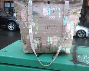 Cocoa brown 1950's Mid Century Modern Style Cotton Print Classic Tote, Repro Bark Cloth Tote bag, Market bag
