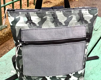 Grey Camoflouge Backpack, Silver Camo knapsack with Patch Pocket