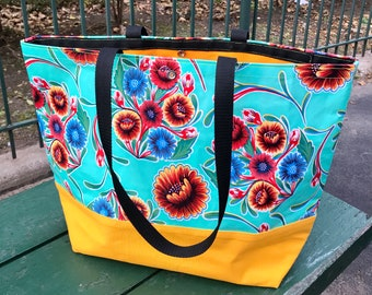 Large Turquoise Mexican Floral Oil Cloth Beach Bag, Oil Cloth Tote