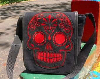Sugar Skull Black Canvas Courier Bag, Crossbody Messenger bag,  Book Bag, Canvas Daybag