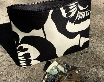 """7"""" Zippered Black and White Cotton Floral Print Cosmetic Bag, I phone case, Make Up Bag, Coin Bag"""