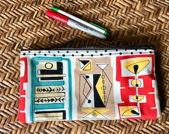 """10"""" Retro Martini Print Cotton Pencil Case, Cosmetic Bag, Make Up Pouch,"""