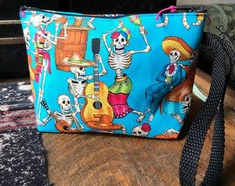 """Dia de los Muertos Cotton Print Wristlet, Dancing Skeleton 7"""" Zipper Pouch, Cosmetic Case , Wrist Clutch Bag"""