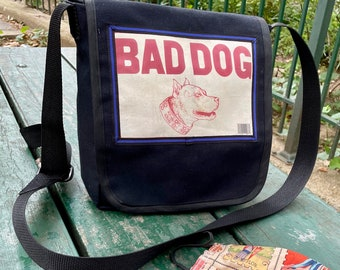 Love Shine Black Canvas Bad Dog Courier Bag, Messenger Bag, Day Bag
