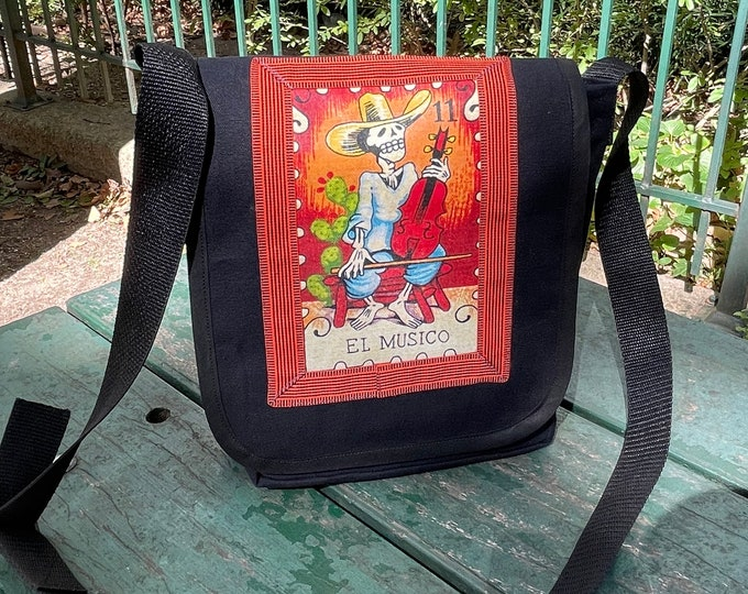 Featured listing image: El Musico Loteria Musician Day Bag, Messenger Bag, Courier Bag