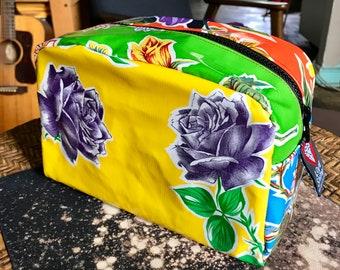 Love Shine Purple Rose Patchwork Oil Cloth Dopp kit, Toiletry Bag,  Floral Cosmetic Bag, Travel Case, Make Up Bag