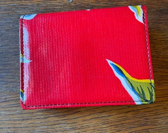 Red Floral Oil Cloth two fold Wallet, Credit Card Case
