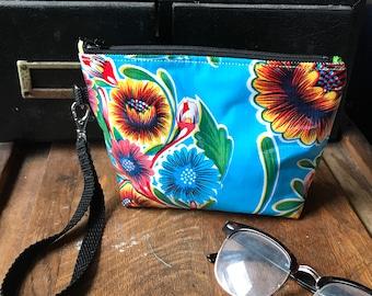 "Blue Floral Mexican Oil Cloth 7"" Swinger, Wristlet Clutch Bag, Oil Cloth Pouch"