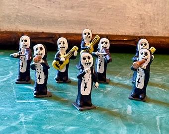 "Set of 8 mini 1"" Day of the Dead Nun Music Band Figurines, Dia De Los Muertos Sister Nuns set"