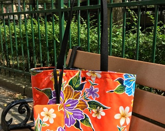 Orange Floral Oil Cloth and Canvas Tote Bag with Cell Phone Wristlet