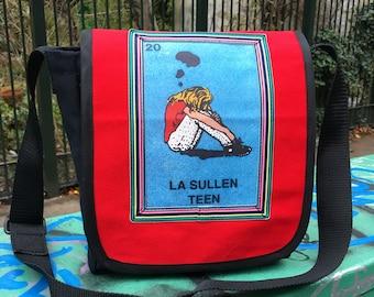 Red La Sullen Teen Canvas Messenger Bag, Crossbody Daybag, Mexican Loteria Courier Bag, Teen School Bag