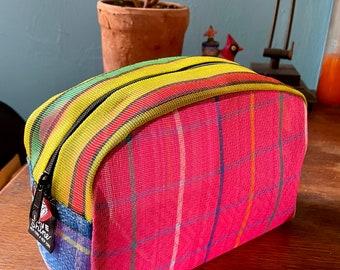 Pink Plaid Patchwork Mexican Mesh Vinyl Dopp Kit, Travel Case, Toiletry Kit, Cosmetics Bag