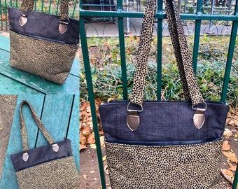 Brown Burlap and Black dot Upholstery Shoulder Tote Bag, Love Shine Handbag