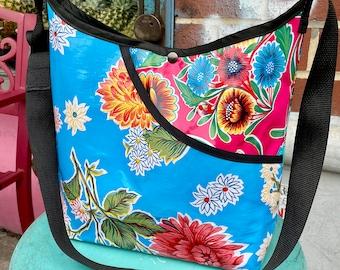 Love Shine Patchwork Blue Pink Floral Oil Cloth Crossbody Market Bag
