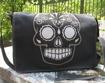 Sugar Skull Black Canvas Courier bag, Black Canvas Shoulder Messenger Bookbag