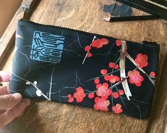 "Black Red Plum Blossom Asian Print Cotton Pencil Case, Cosmetic Bag, 10"" zipper Pouch"