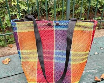 Love Shine Mexican Mesh Woven Plaid Market Tote Bag, Mercado Bag, Red Yellow Blue Purse