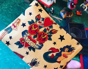 """Love Shine Sailor Jerry Tattoo Print Cotton 7"""" Pouch, Coin Case, Make Up Cosmetics Bag"""