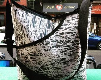 Grey and Peach Birch Tree Print Cotton Market Bag. Women's Crossbody Shoulder bag, Schoolbag
