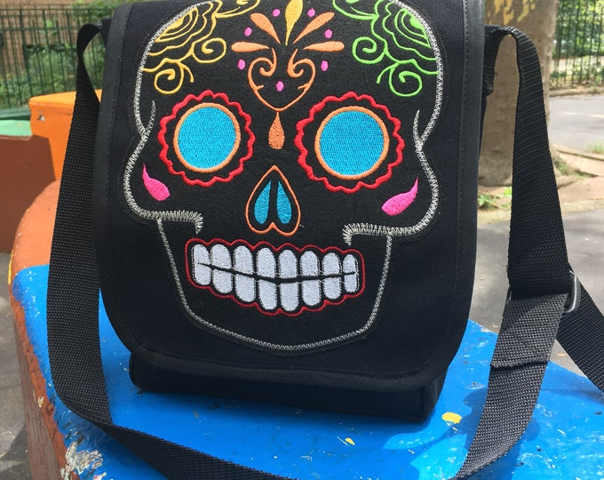 Featured listing image: Black Canvas Messenger Bag with Embroidered Sugar Skull Patch, Canvas Courier Bag, Day Bag, Cross Body School Bag