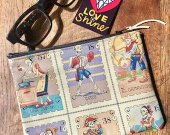 "Dia de los Muertos 7"" Cotton Print Pouch, Coin Bag, Cosmetic Case, Day of the Dead Skeleton Bag"