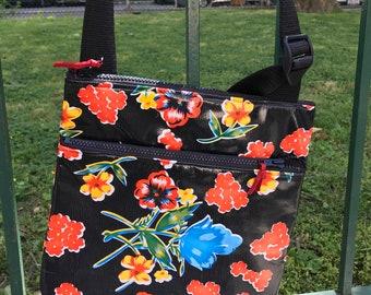 Black Floral Oil Cloth Messenger Saddle Bag, Cross body Vinyl Flat Shoulder Bag