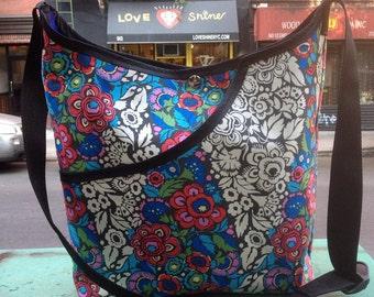 Cotton Floral Print  Market Bag, Crossbody Shoulder Bag,  Tote Bag