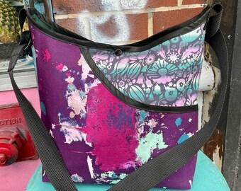 Patchwork Purple Floral Cotton Print Crossbody Market Bag, Shoulder Bag, Hobo Bag