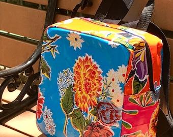 Blue Floral Oil Cloth Patchwork Backpack, Handmade lightweight Oil Cloth Love Shine Knapsack