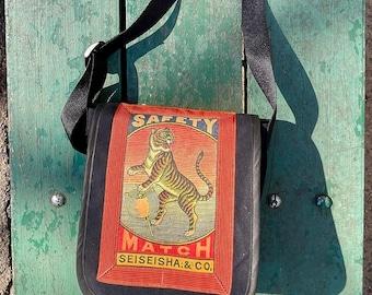 Vintage Japanese Tiger Canvas Messenger Bag, Matchbox Art Day Bag, Courier Bag