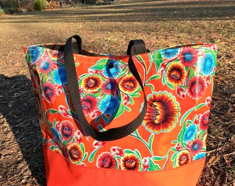 Large Orange Floral Oil Cloth and Canvas Trimmed Beach Bag, Oil Cloth Tote Bag