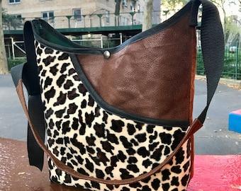Faux Leopard Vegan Leather and Suede Patchwork Market Bag