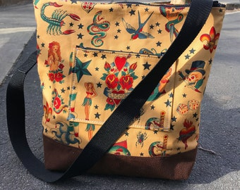 Sailor Jerry Tattoo Cotton Print Zipper Top Market Bag, Crossbody Shoulder Bag