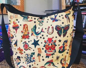 Cotton Tattoo Print Market Bag, Sailor Jerry Print Crossbody Hobo Sling Messenger Shoulder Bag