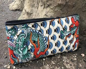 Japanese Dragon Print Cotton Pouch, Pencil Case, Cosmetic Bag