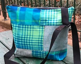 Blue Green Patchwork Flannel Market Bag, Crossbody Messenger Bag