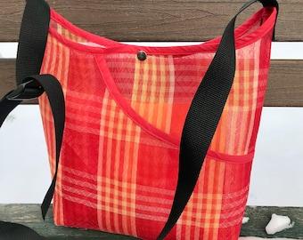 Love Shine Mexican Mesh Red Plaid Market Bag, Mercado Bag, Woven Mesh Crossbody Shoulder Bag