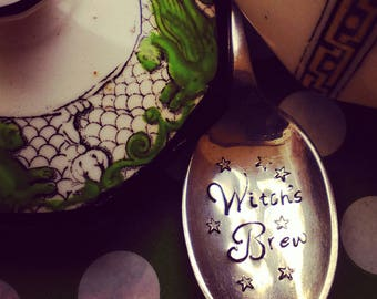 Witch's Brew Spoon - Hand Stamped Spoon - Wiccan - Pagan - Samhain - Halloween - Cutlery - Gift - Personalise - Personalize - Cutlery